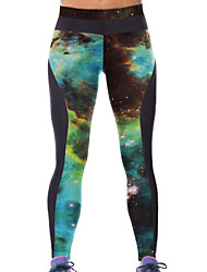 Women's Green Galaxy Printed Tight Sport Leggings