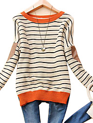 Gola redonda Moda feminina Stripe Camisola longa da luva