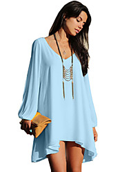 Stylish Women's Dress, V-neck Long Sleeve Loose-fitting