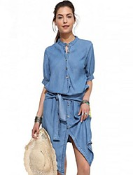 Women's Vintage Casual Day Solid Slim Classics Round Neck Lace-up Dress