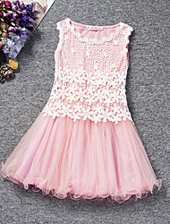 Girl's Blue / Pink / Purple / Red / Yellow Dress , Lace Polyester Summer