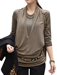 Women's Casual Micro-elastic Long Sleeve Long Blouse (Cotton Blends)