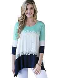 Damen T-Shirt  -  Gerüscht Polyester Langarm Rundhalsausschnitt