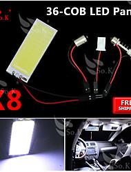 8x nouvelle torchis blanc 36 SMD carte du panneau dôme lumière intérieure + feston adaptateur t10