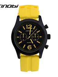 Men's Sport Watch Wrist watch Quartz Water Resistant / Water Proof Sport Watch Silicone Band Yellow Brand SINOBI