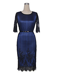 Women's Work A Line Dress,Striped Round Neck Knee-length ½ Length Sleeve Blue / Silver Polyester / Spandex All Seasons
