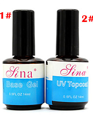 1pcs BASE COAT + TOP COAT  New 14ML Nail Art Soak Off Color UV Gel