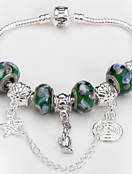 Women fashion jewelry 925 Sterling Silver bracelet Murano Glass Crystal European Beads Strand Beads bracelets BLH022