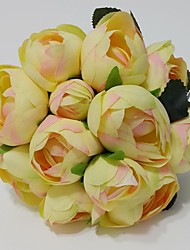 "Wedding Flowers Round Peonies Bouquets Wedding / Party/ Evening Yellow / Pink / White Satin 7.87""(Approx.20cm)"