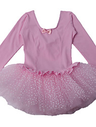 Kid Girl's Pink/Purple Polka Dots Tulle Ruffle Skirt Long Sleeve Ballet Tutu Costume/Dancing Performance Dress for 3~8Y