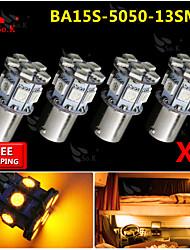 4x ba15s amarillo 1156 revertir 13 bulbos de señales de luz de dirección traseros del coche SMD LED rv