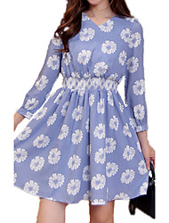 Spring Plus Sizes Women's V Neck Long Sleeve Slim Elastic Waist Blue Printing Dress