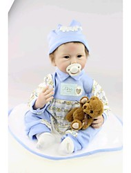 NPKDOLL Reborn Baby Doll Soft Silicone 22inch 55cm Magnetic Mouth Lovely Lifelike Cute Boy Girl Toy Blue Bear