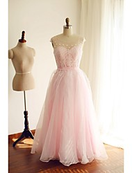 A-Line Scoop Neck Floor Length Organza Prom Dress with Beading