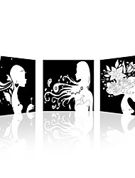 VISUAL STAR®Black & White Girls Photos Canvas Prints Wall Art Home Decoration Living Room Pictures Canvas Set of 3