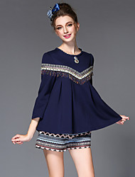 2016 Spring Women's Set Embroidery Bead Tassel Bohemia Ethnic Patchwork Pleat Blouse+Shorts Two Piece Set