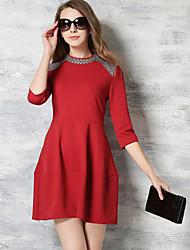 De las mujeres Línea A / Corte Ancho Vestido Fiesta / Para Trabajo Un Color Mini Escote Chino Algodón