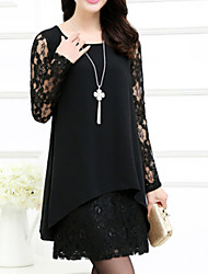 Women's Solid Plus Size Dress,Round Neck Above Knee Chiffon / Lace
