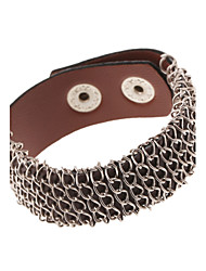Steel Wire Knited Leather Wide Band Bracelets