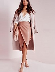 Women's Casual Knee-length Solid PU Skirts