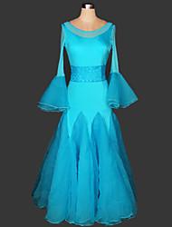 Dança de Salão Vestidos Mulheres Actuação Náilon Chinês / Renda Pano 1 Peça Vestidos 125cm