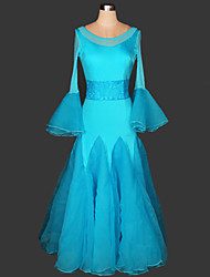 Ballroom Dance Dresses Women's Performance Chinlon / Lace Draped 1 Piece Black / Blue / Red / White Modern Dance Dress