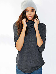 Women's Solid Blue / Gray Blouse , Round Neck Long Sleeve