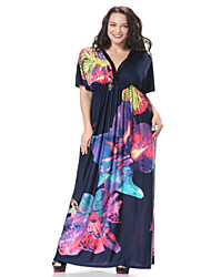 Women's Beach Skater Dress,Floral Deep V Maxi Short Sleeve Blue Spandex Spring