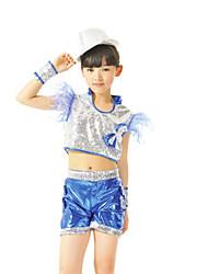 Jazz Outfits Kinderen Prestatie Lovertjes Pailletten 2-delig Blauw / Goud / Rood Jazz Mouwloos Shorts / Bovenkleding