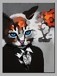 Oil Painting Modern Abstract  Pure Hand Draw Ready To Hang Decorative Cat In The Suit  Oil Painting