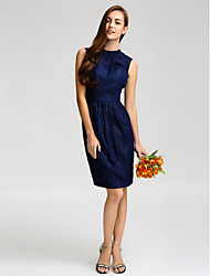 Knee-length Satin Bridesmaid Dress - Dark Navy Sheath/Column Jewel