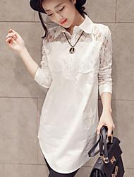Women's Lace Splicing Shirt Collar Long Sleeve Slim Shirt