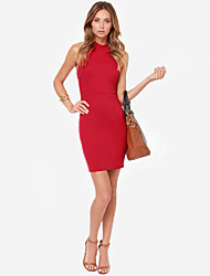 Women's Sexy Solid Sheath Dress , Round Neck Above Knee Polyester
