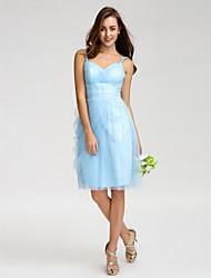 Knee-length Tulle Bridesmaid Dress Sheath/Column Spaghetti Straps