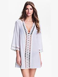 Women's Solid White / Black / Green Dress , Beach Deep V Long Sleeve