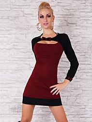Women's Bow Long Sleeve Color Block Bodycon Mini Dress