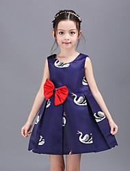 Girl's Blue Dress,Cartoon Polyester Summer