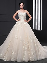 Ball Gown Wedding Dress - Champagne Chapel Train Strapless Lace