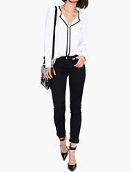 Women's Patchwork White Blouse , Shirt Collar Long Sleeve