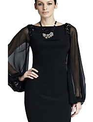 Women's Solid Black Dress , Work Round Neck Long Sleeve