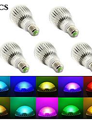 15W E26/E27 Ampoules Globe LED B 5 LED Intégrée 1500 lm RGB Commandée à Distance / Décorative AC 85-265 V 5 pièces