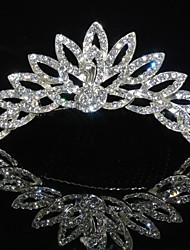 Fashion Peacock Rhinestones Alloy Platinum Plating Wedding Crown Tiaras Inserting Comb for Women