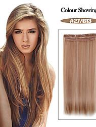 alta temperatura de resistencia de 24 pulgadas 27/613 recta larga peluca de extensión 5 clip de 16 colores disponibles