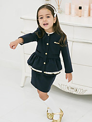 Girl's Spring/ Fall Cotton Sequin Long Sleeve Tight suit  Short Skirts Two-Piece Set