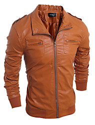 Men's Fashion Multi-Pocket Slim Leather Jacket