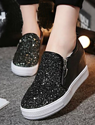 Women's Shoes New Wedge Heel Round Toe Fashion Sneakers with Zipper