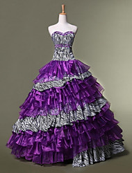 Formal Evening Dress - Grape Ball Gown Sweetheart Floor-length Organza