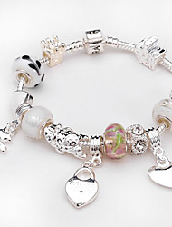 Women jewelry 925 Sterling Silver bracelet Murano Glass Crystal European Beads Strand heart charm Beads bracelets BLH031