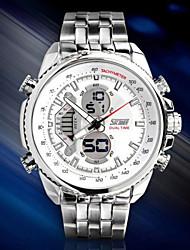 Masculino Relógio de Pulso Digital LCD / Calendário / Cronógrafo / Impermeável / Dois Fusos Horários / alarme / Relógio EsportivoAço