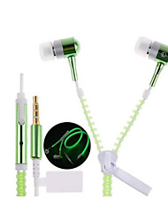 Glow In The Dark Zipper Earphones Earbuds Headphones Headsets with Universal 3.5mm Stereo Jack & Mic for Samsung S4/S5